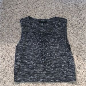 Forever 21 Gray Crop Top with Lace Up Neckline